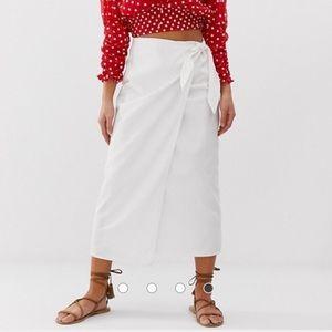 asos petite white denim midi wrap skirt